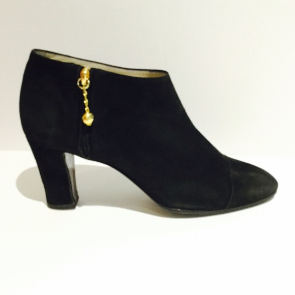 b0851369a5 CHANEL Shoes | Black Suede Cc Booties | Poshmark